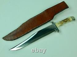 Vintage Us Custom Hand Made Lou Hegedus Huge Bowie Stag Fighting Knife Dagger