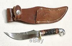 Vintage Western USA H40J Antler Stag Handle Fighting Hunting Dagger Knife Sheath