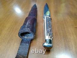 Vintage knife Solingen Germany Othello Old Stag Bone withcase Dagger Boot Rare