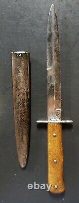 WW2 German Air Force Nahkampfmesser Combat Boot Trench Knife Dagger with Scabbard