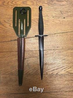 WW2 OSS Stiletto Dagger Fighting Knife & Original Pancake Sheath Rare