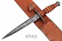 Ww2 British Fighting Combat Dagger Stiletto Knife Rplica & Leather Sheath By Arc