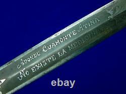 Ancien Vieux Mexique Mexique Grand Couteau De Combat Gravé Dague