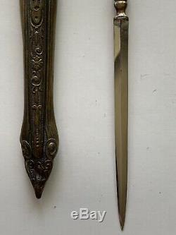 Antique Allemagne Trench Fighting Couteau Dague Et Gaine 8,5 Pouces