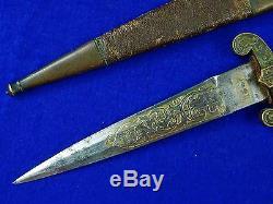 Antique Old 19 Siècle Espagnol Espagne Toledo 1867 Gravé Dague Couteau Fighting