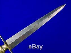 Antique Old Vintage Anglais Britannique Ou Américain Dagger Stiletto Couteau Fighting