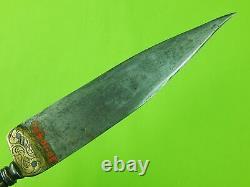 Antique Vieille Espagne Espagnole Italie Italien Fancy Dagger Fighting Knife Avec Scabbard