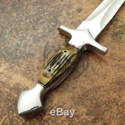 Arc Couverts Main Magnifique Tactique De Chasse Dague Couteau En Acier Stag Corne D-2