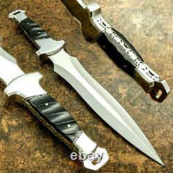 Belle Main Sur Mesure D2 Steel Dagger Knife & Sheath Buffalo Horn Handle