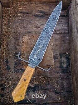 Bois D'olivier À La Main Personnalisée Damas Hunting Acier Dague Couteau 17,5 Toothpick