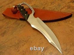 Chasse -couteau De Chasse En Acier Au Carbone Fabriqué À La Main Et Gaine Buffalo Horn Poignée