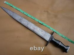 Custom Damascus Steel Hunting Knife Sword Arkansas Toothpick Dagger New Mi-47