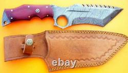 Custom Damascus Steel Hunting Knife Tracker Tanto Bowie Dagger 8mm Thick Mi-36