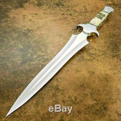 Custom Made Main D2 Couteau Dague De Chasse Acier Rod Cassagne Ram Manche En Corne