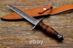 Dagger - Couteau De Poignard En Acier De Damas Fabriqué À La Main Et Poignée De Rouleau En Cuir De Gaine