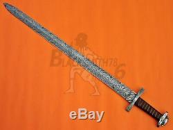 Damas Fait À La Main Sur Mesure En Acier Couteau Épée Viking 38.00 Avec Manche Wrap En Cuir
