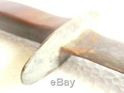 Énorme Couteau Dague Antique Tang Trois Quarts, Poignée Bakélite Avec Gardien De Bronze