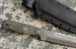 Entrek USA Commando 440c À Lame Fixe Couteau Kydex Gaine Toile Micarta Scales