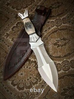 Fait À La Main Personnalisée D2 Outil En Acier Antler Stag Dagger Bowie Double Hunting Side Couteau