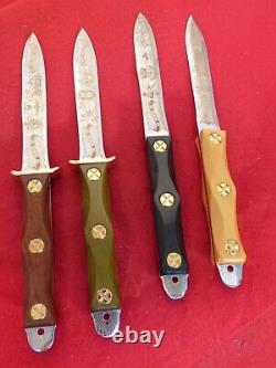 John Ek Custom Four Commando Fighting Knife Set/display Navy Seal-marine Recon