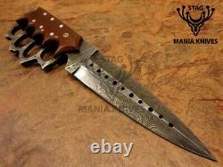 John Henry Main Forgé Damas Acier Plein Tang Couteau Dagger Blade Micarta