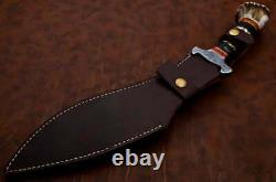 Kukri Custom Handmade Damascus Steel Kukri Knife & Buffalo & Stag Horn Handle
