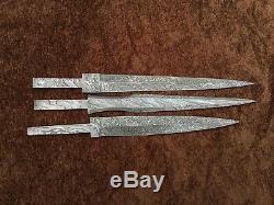 Lot De 3 Main De Damas Acier Historique Dagger Blank Lames De Couteaux Faisant 3b2