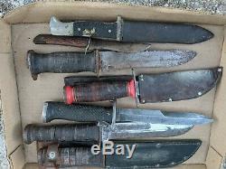 Lot De 7 Combat Vintage Couteaux Trench, Poignards Et Deux Fourrures
