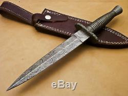 Main Coutume Britannique Chasse Dague Couteau Damas En Acier Avec Gaine En Cuir