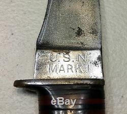 Marine Mark1 Fighting Dague Couteau Us Withscabbard Ww2 Bon État