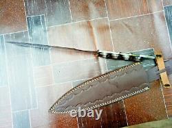 Mh Custom16d2 En Acier Au Carbone Fighting Couteau À Lame Fixe Tang Plein Rose Bois Mh312