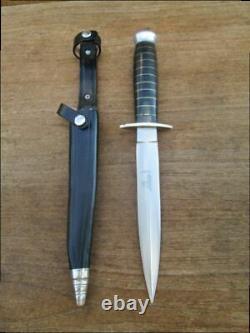Old Hubertus Germany Forged Carbon Steel Daguer Fighting Couteau En A+++ État