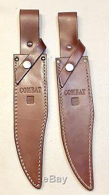 Paire Vintage 1980 Grand Al Mar Grunt Fighting Dague Couteau Original Gaine