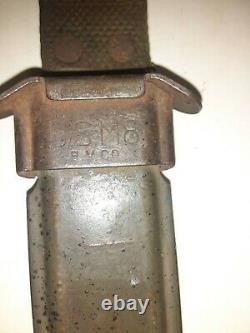 Poignard De Couteau De Combat De Tranchée M3 Non Marqué Avec Usm8 Scabbard Look Difficile À Trouver