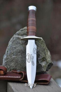Poignée En Cuir Empilée Sur Mesure D2 Tool Steel Hunting Dagger Bowie Knife