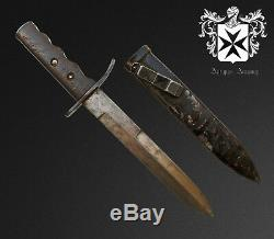 Rare Début 1935 Ww2 Italienne Msvn Combat Couteau / Dagger Avec Gaine Originale