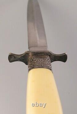 Rare J. Nowill & Sons Sheffield Couteau À Poignard De Chasse À La Main En Celluloïde Stiletto