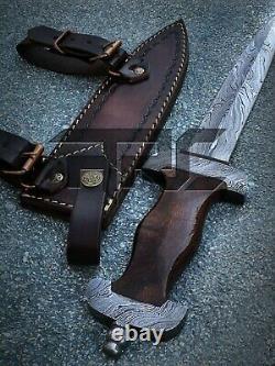Rare Main De La Seconde Guerre Mondiale Allemande Ss Forgé Damas Steel Dagger Knife Wood Handle