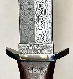 Rare Vintage Boker Damast Applegate Fairbarn Solingen Le Boot Dague Couteau Case
