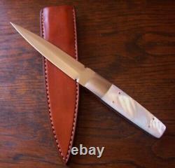 Ron Gaston Custom Genuine Mother Of Pearl Fighting Dagger Stiletto Knife