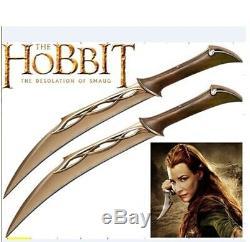 S0079 Le Hobbit Elven Double Couteaux De Combat Poignards De Tauriel Wall Mount 20.5