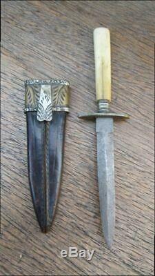 Sm. Antique Joseph Allen & Son Sheffield Couteau Dague De Prostitute Withfine Gaine