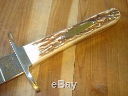 Superbe Mesure Buck 976 Geronimo Paix Dague Couteau Stag Antler Poignées Mp Lame