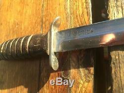 Ultra Rare Ww2 Usm3 Garde Et Lame Marquée Utica Fighting Couteau, Poignard Trench