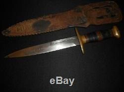 Us Ww2 Richtig Fighting Couteau Withcornish Fourreau / Antique Dagger / F J R Clarkson One