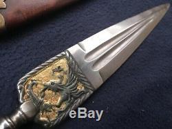 Vieux Couteau Antique Italien Genovese Épée Dague Ligure Stiletto Or De Combat
