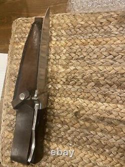 Vintage 1980 Al Mar Seki Japon 3004 Sere Fighting Dagger Couteau Étui Fabriqué À La Main