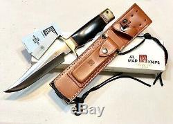 Vintage 1980 Al Mar Seki Japon Fighting Dague Couteau Fourreau Case Papiers Monnaie