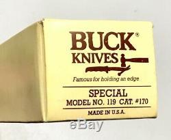 Vintage 1986 Buck 119 Etats-unis Hunting Fighting Dague Couteau Fourreau Case Papiers Monnaie