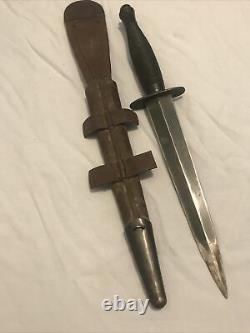 Vintage Fairbairn Sykes Sheffield Angleterre Fighting Knife Dagger & Gaine